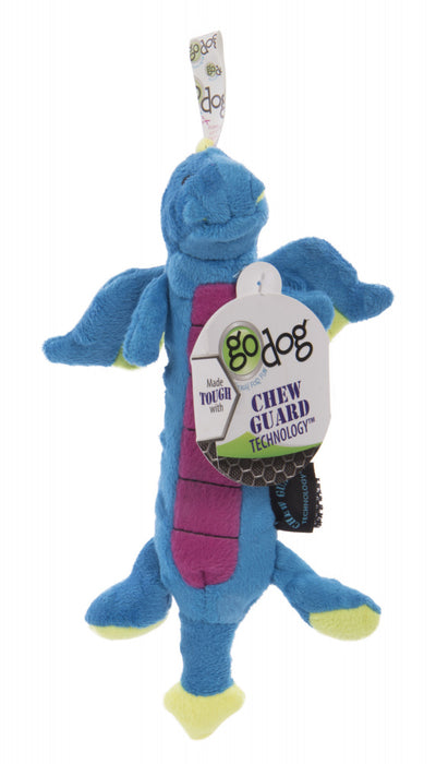 Go Dog Dragons Skinny with Chew Guard Technology Durable Plush Squeaker Dog Toy Blue