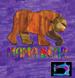R11- Brown Bear- Mama Bear- Shirt Panels -PURPLE