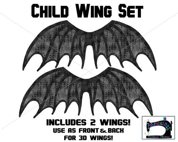 R16 - Dragon Wings Child Panel SET- Black