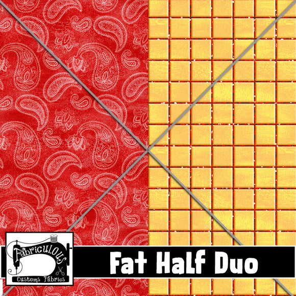 R22- Cowboy Coords Fat Half Duo (Paisley/Plaid)