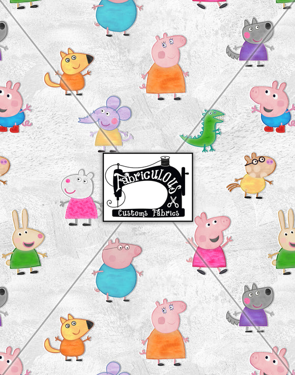 R28- Pig & Friends Tossed Print