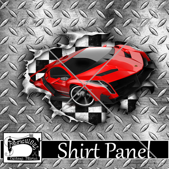R24- Red Car Shirt Panel