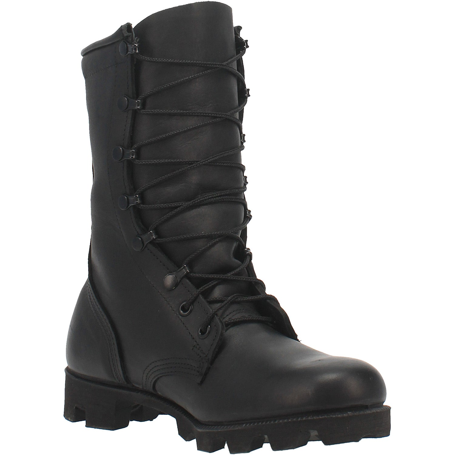 Black All-Leather Combat Boot with Panama Sole 14940722659370