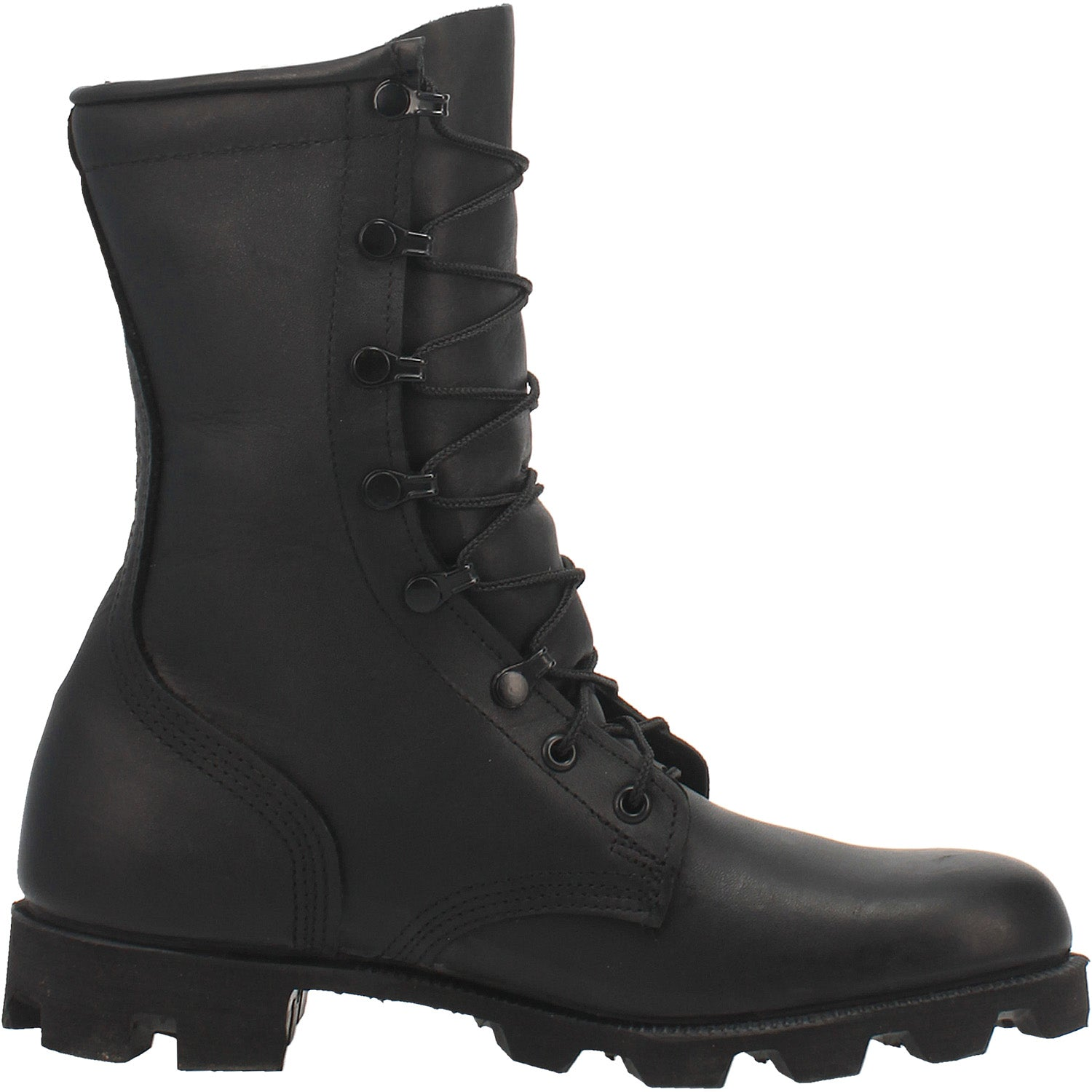 Black All-Leather Combat Boot with Panama Sole 14940722561066