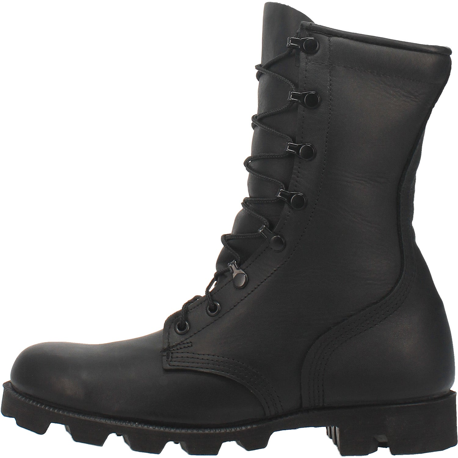Black All-Leather Combat Boot with Panama Sole 14940722790442