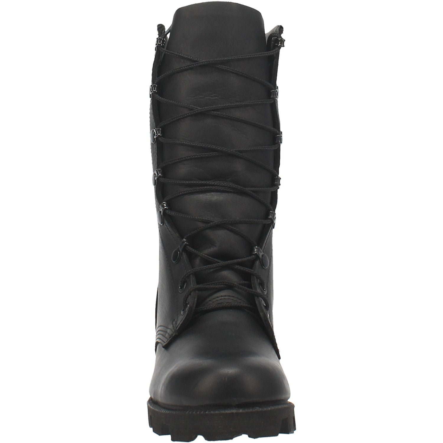 Black All-Leather Combat Boot with Panama Sole 14940722757674