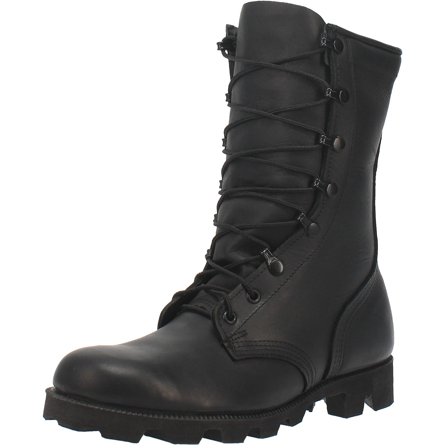 Black All-Leather Combat Boot with Panama Sole 14940722593834