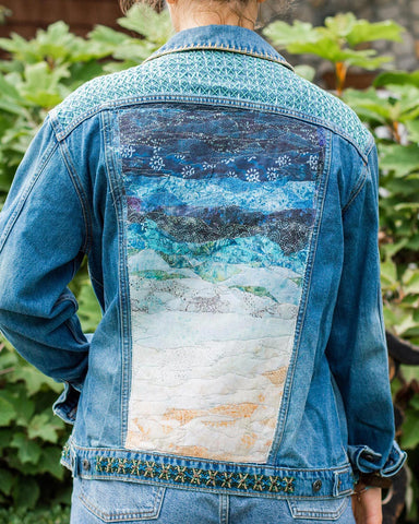 Holly OOAK Cropped Distressed Denim Jacket - Small