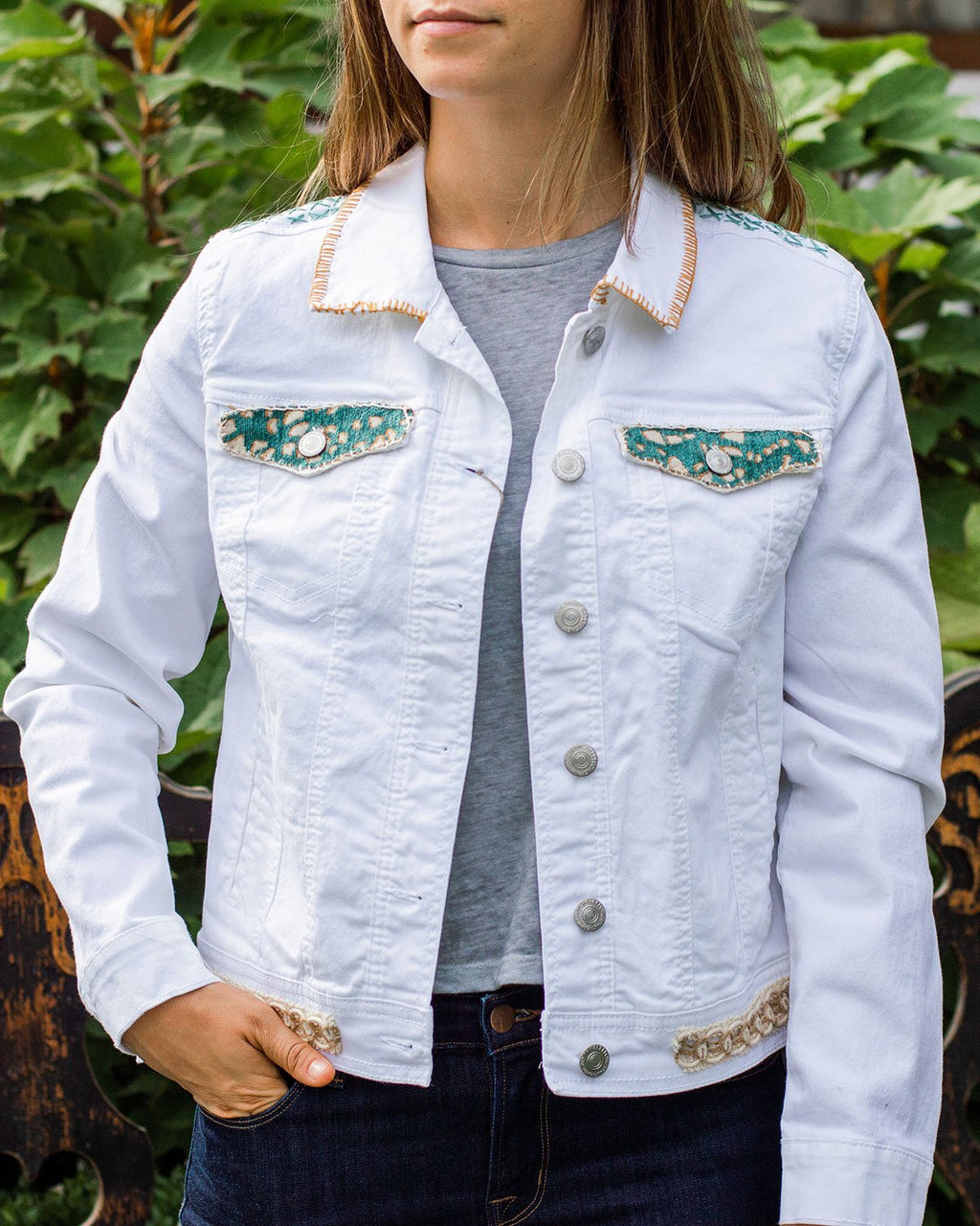 Beach OOAK White Denim Jacket - Large