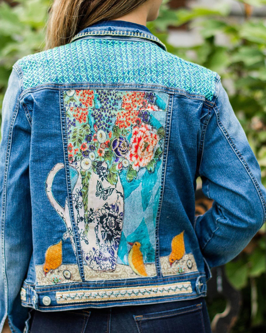 Bird Still Life OOAK Denim Jacket - Large