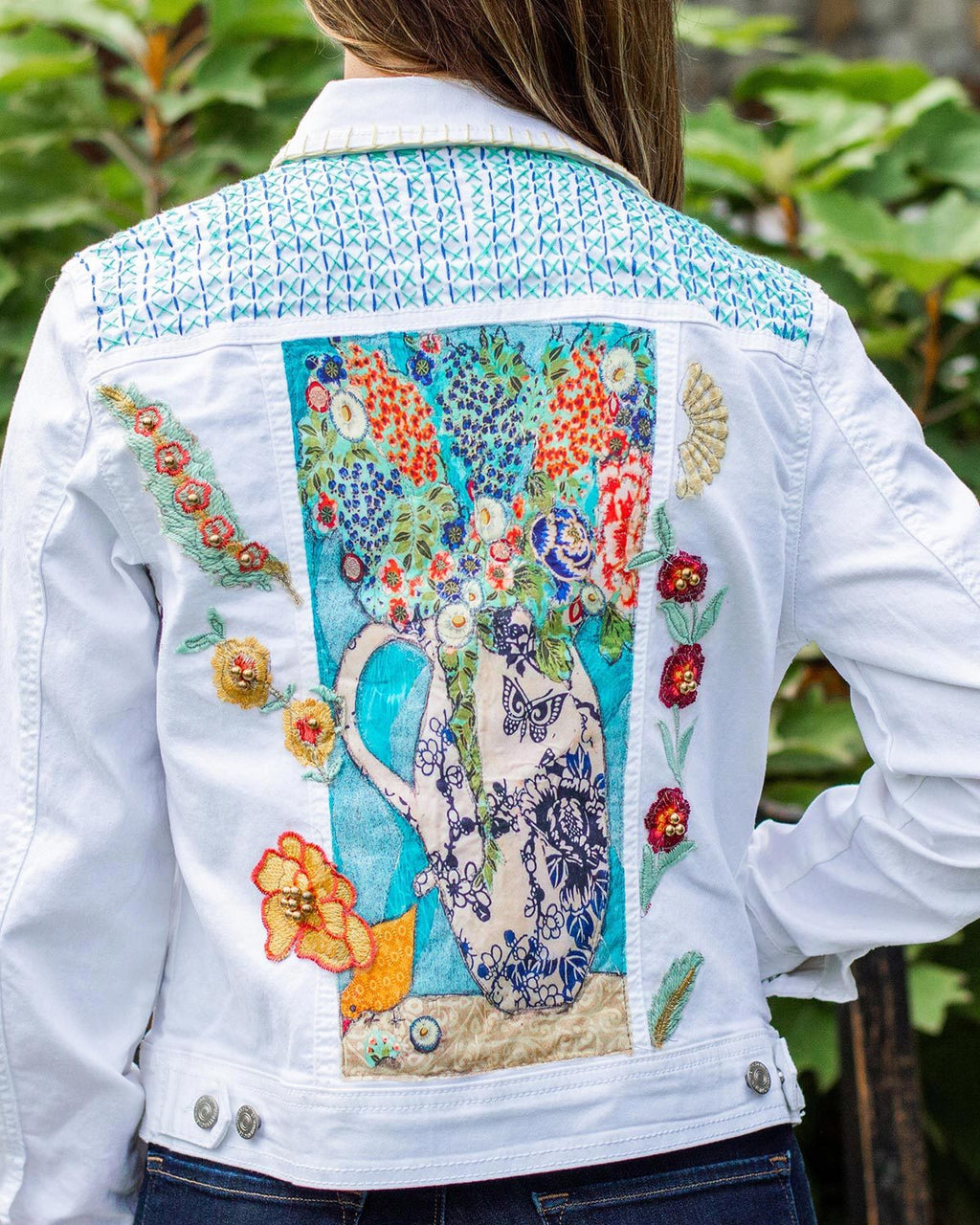 Bird Still Life OOAK White Denim Jacket - Large