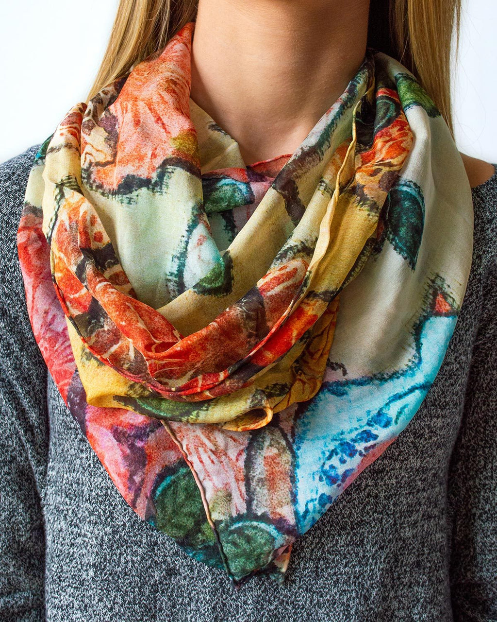 Birds and Flowers Silk Scarf