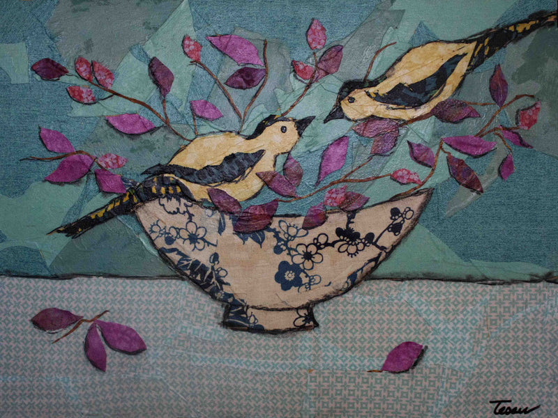 Gold Finches and Lotus Flowers - Original