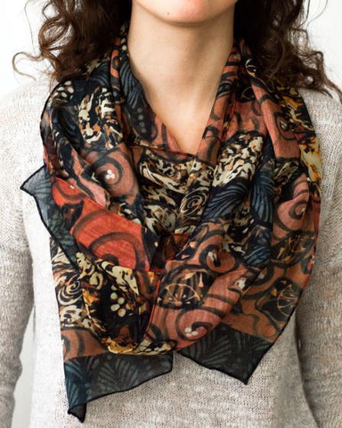 Grey Birds Silk Scarf