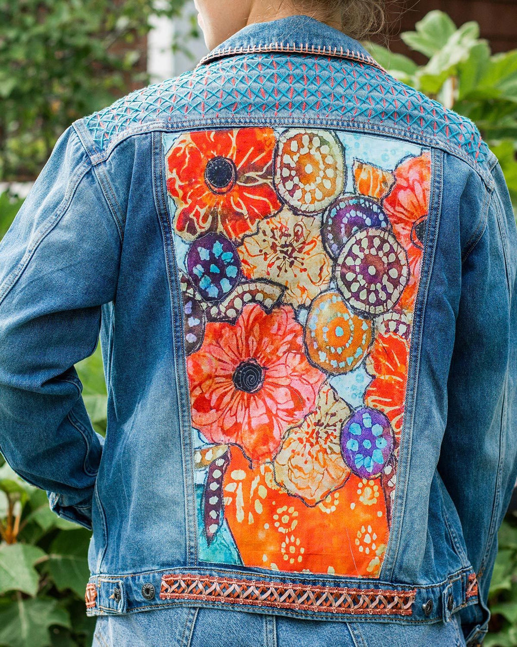 Floral Still Life OOAK Oversized Denim Jacket - Medium