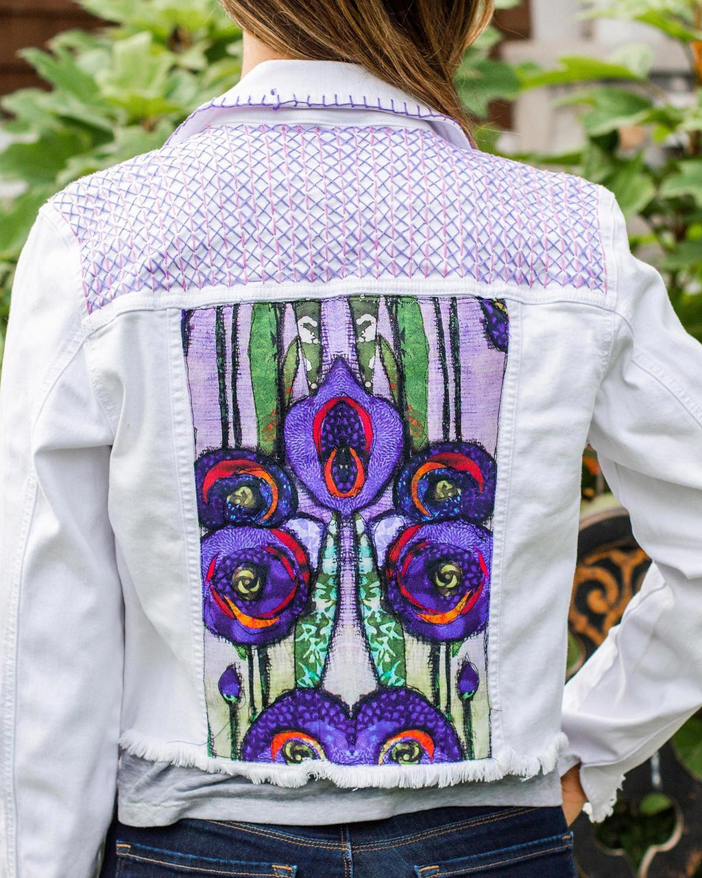 Garden OOAK White Denim Distressed Jacket - Small