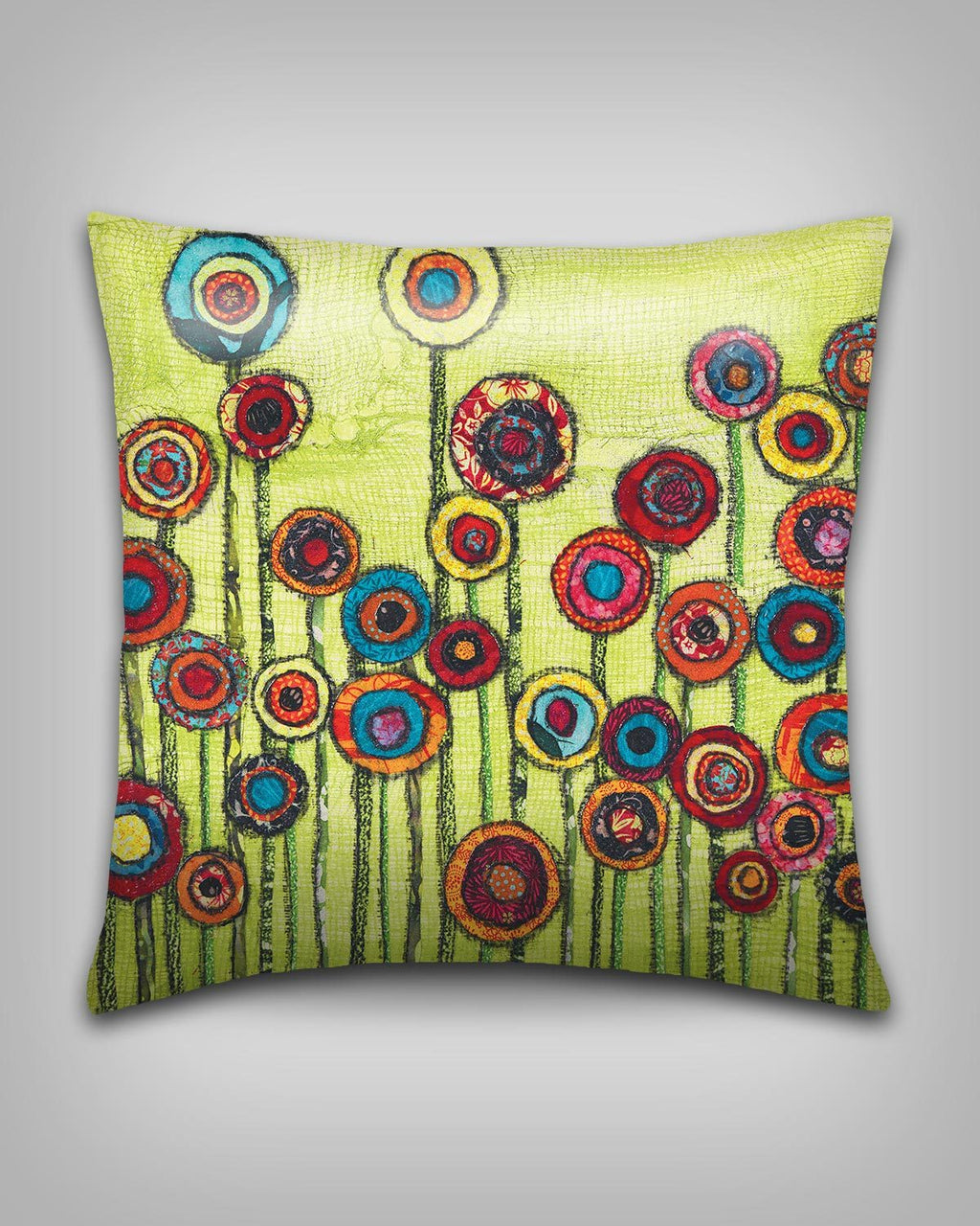 Green Poppies Art Pillow