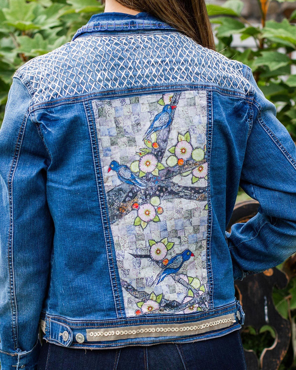 Grey Birds OOAK Denim Jacket - Large