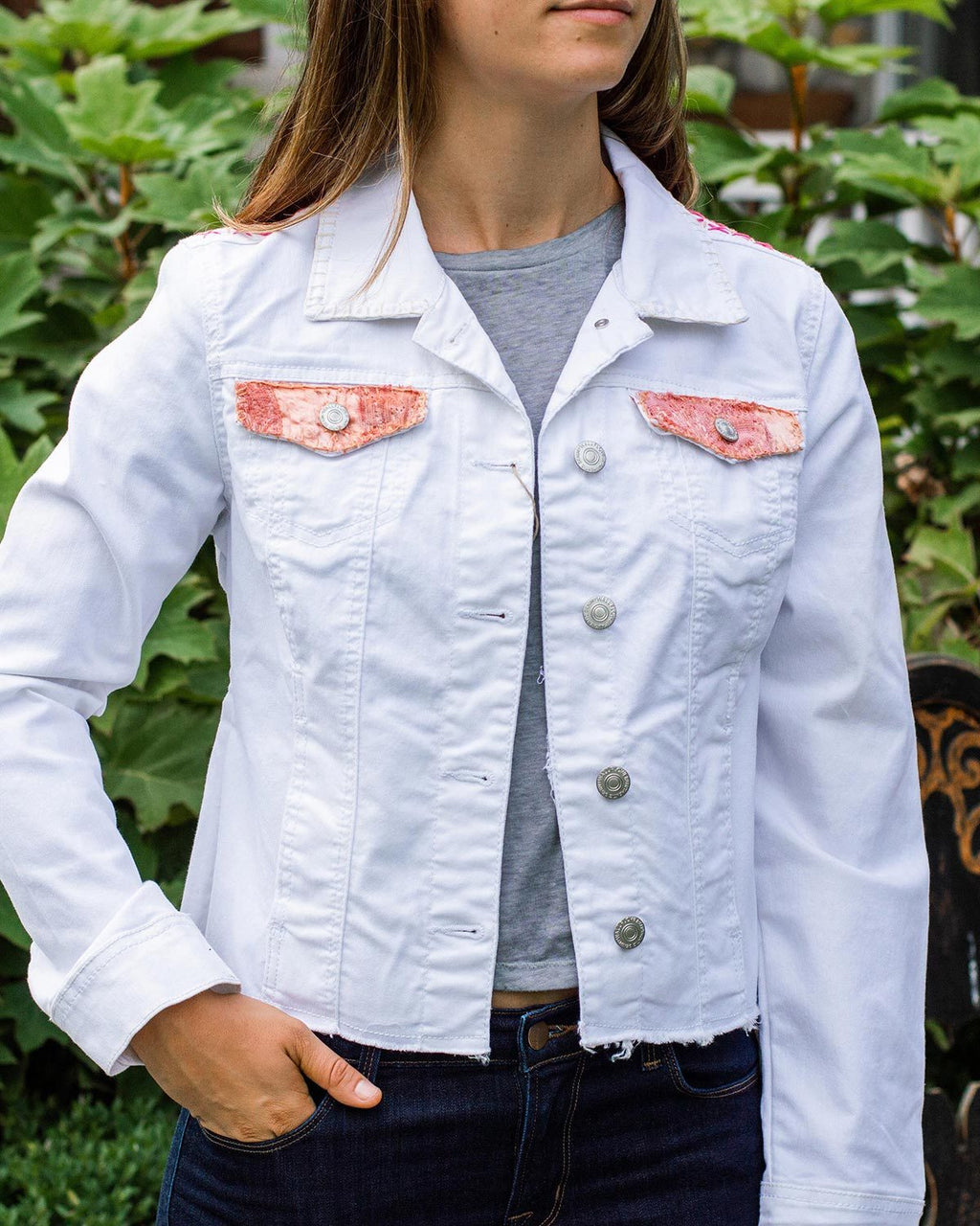 Holly OOAK White Oversized Denim Jacket - Medium
