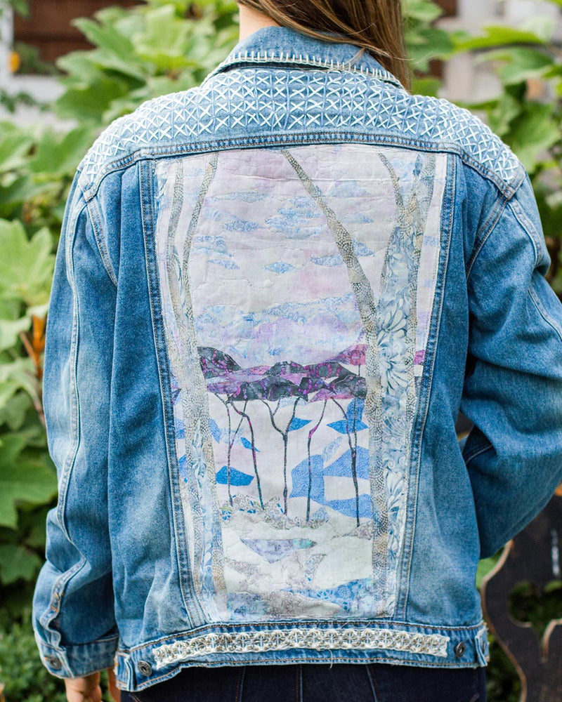 Lavender Forest OOAK Oversized Denim Jacket - Large