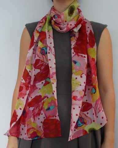 Red Forest Silk Scarf