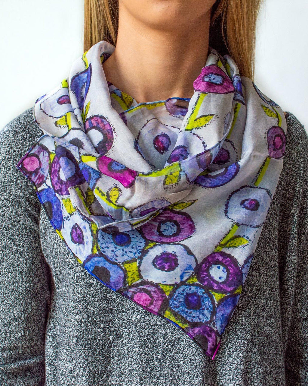 Purple Poppies Silk Scarf