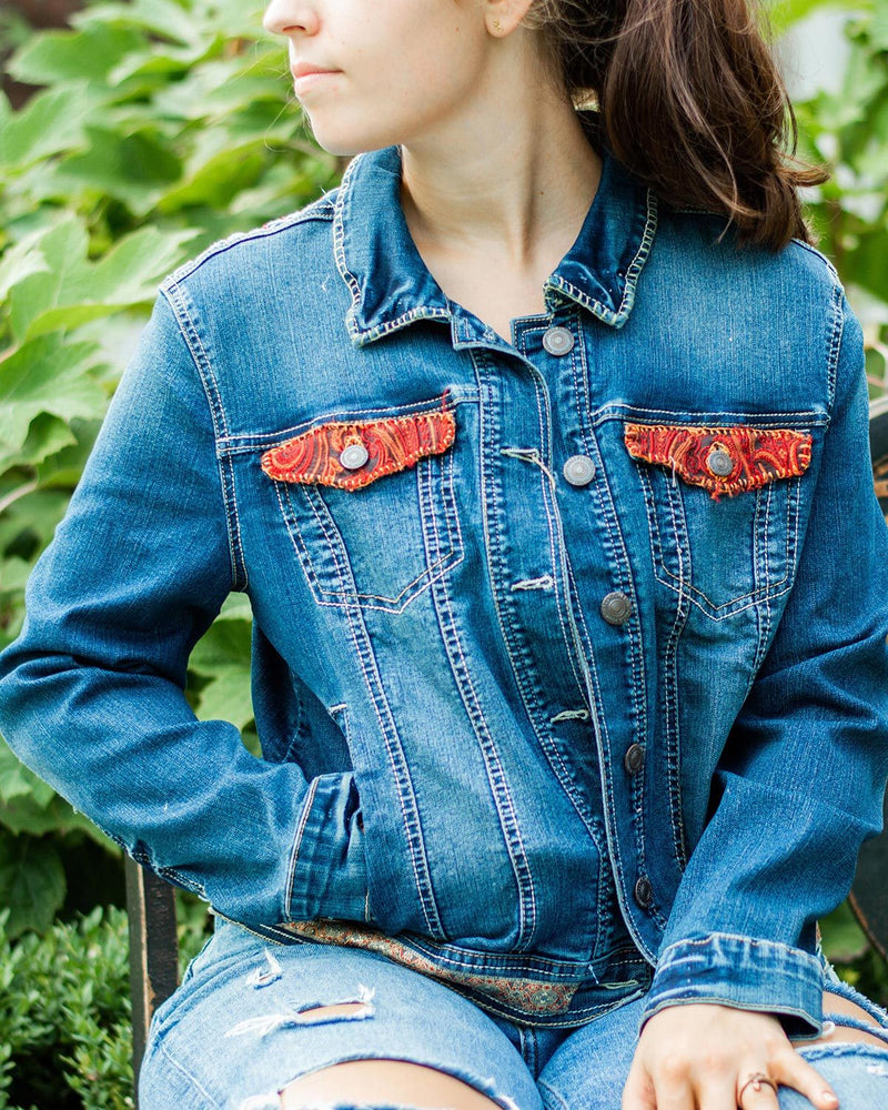 Red Forest OOAK Denim Jacket - Large