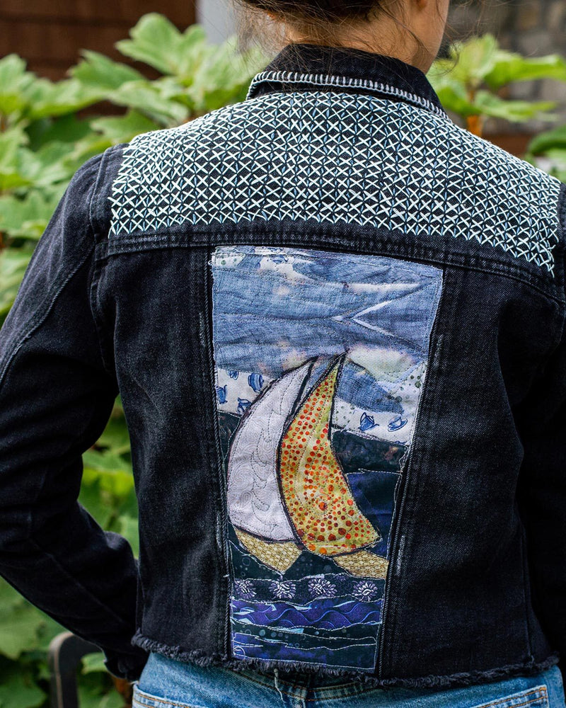 Sail Boats OOAK Black Denim Distressed Jacket - Medium