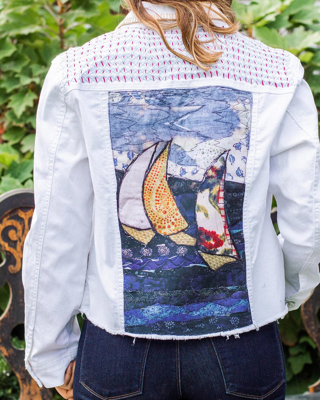 Sail Boats OOAK White Denim Frayed Edge Jacket - Large