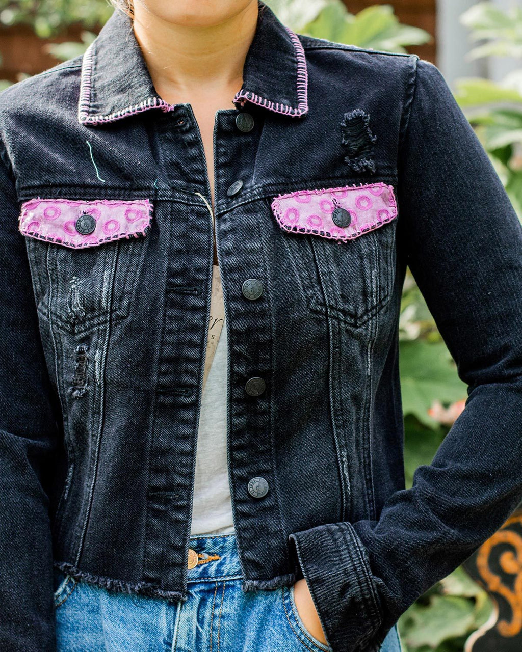 Village OOAK Black Cropped Denim Distressed Jacket - Small