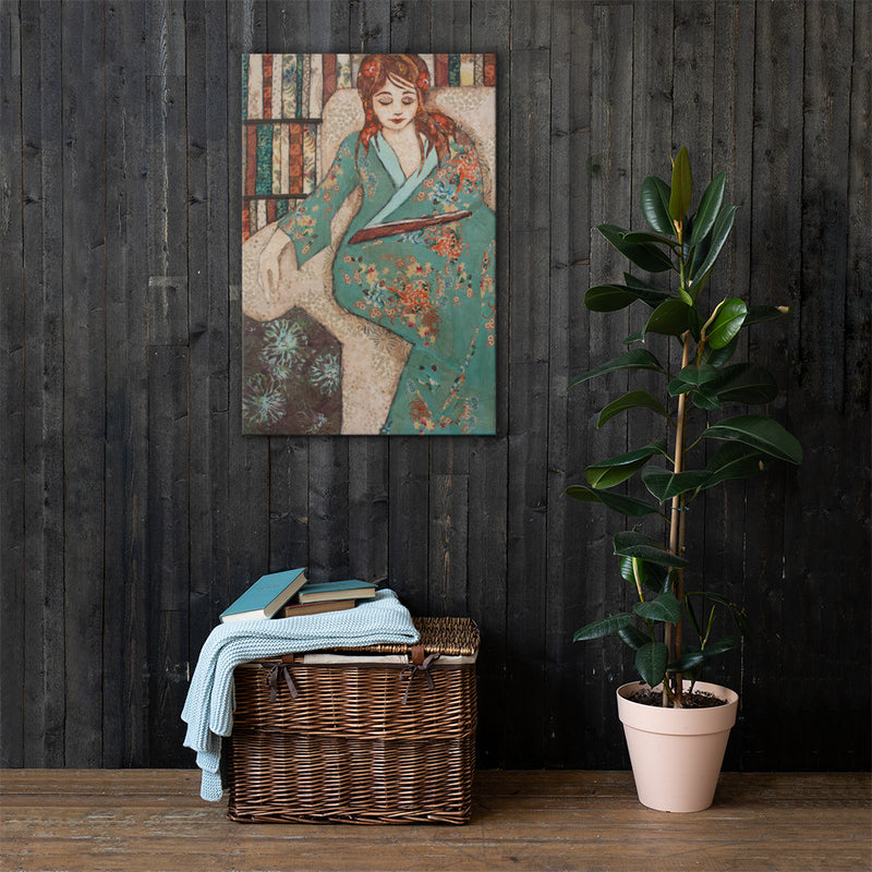 Teal Reader on Gallery Wrap Canvas