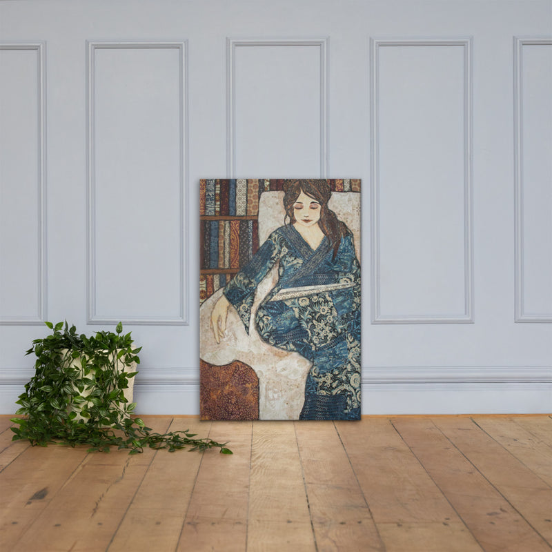 Blue Reader on Gallery Wrap Canvas