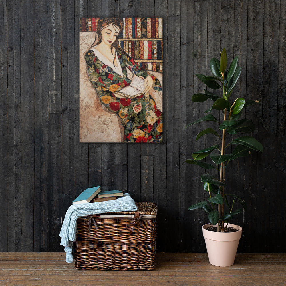 Flowered Robe Read on Gallery Wrap Canvas