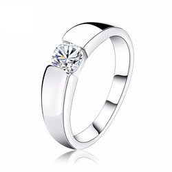 SILVER ENGAGEMENT CUBIC ZIRCON RING