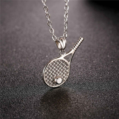 U7 Necklace Stainless Steel Tennis Racket Pendant For Men/Women Gift  Gold Color Kpop Sport Fitness Jewelry Necklaces P1014