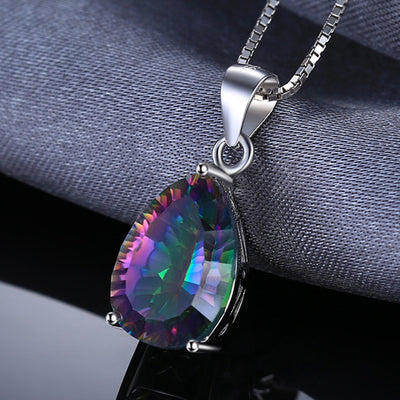 Rainbow Topaz Heart Pendant 4ct *Sterling Silver