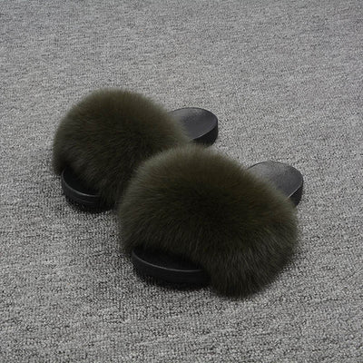 Womens' Fox Fur Fashion Slippers