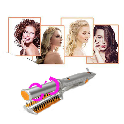 2-Way Rotating Curling Iron 360 Degree 2 in 1 Hair Straighten Device