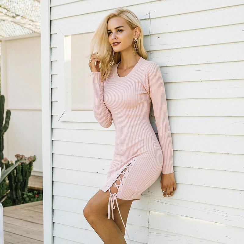 Charlotte - Bodycon Lace Up Dress