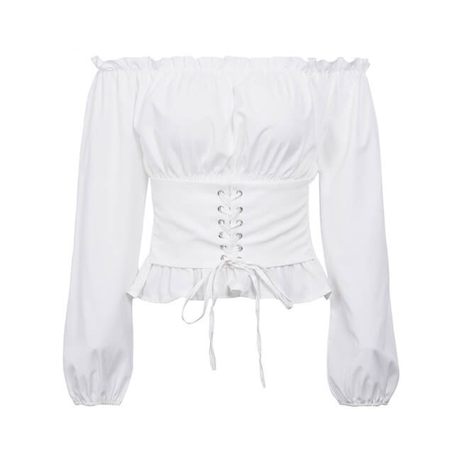 Eve - Lace Up Ruffle Blouse