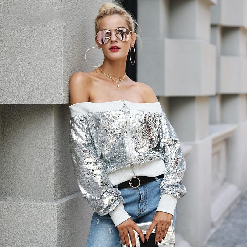 Eva - Off Shoulder Sequined Jacket