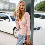 Abigail - V Neck Lace Up Top