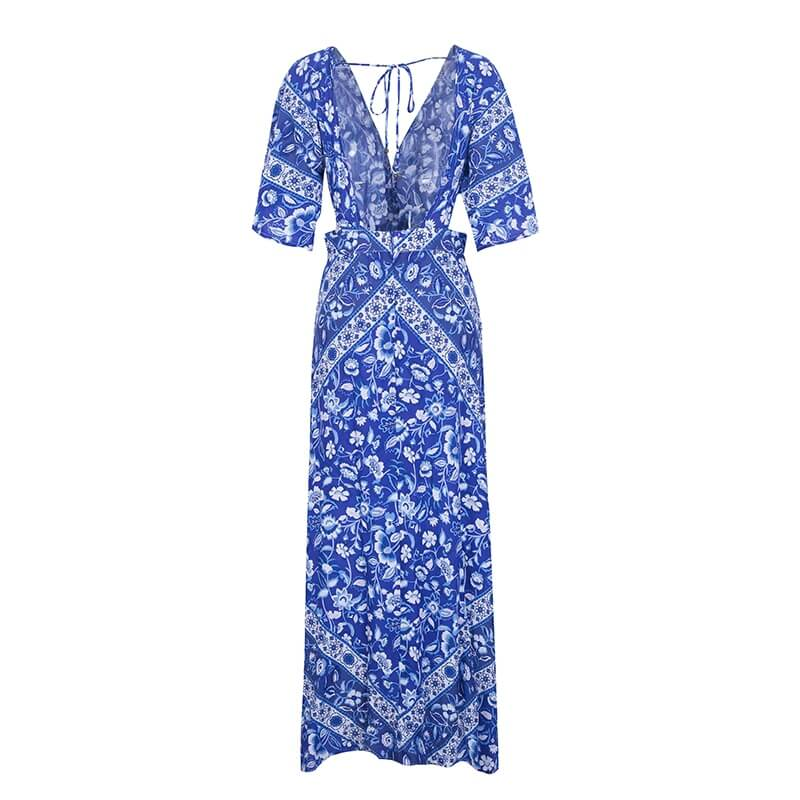Evie - V Neck Boho Maxi Dress