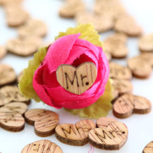 100 Piece Wooden Mr & Mrs Hearts Table Confetti - Bliss Ever After