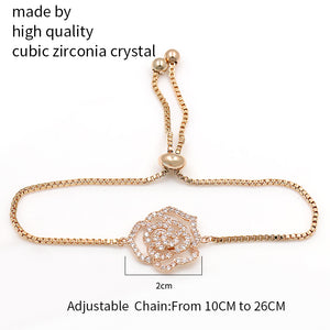 Rose Flower Cubic Zirconia Adjustable Bracelet - Bliss Ever After