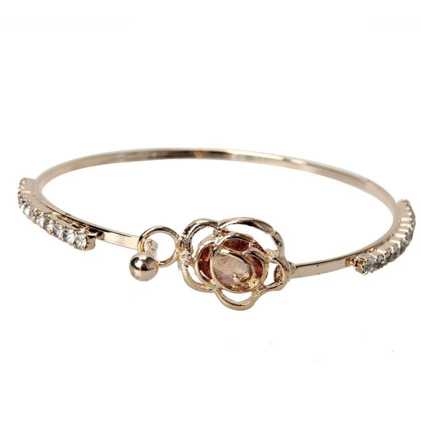 Rose Bangle Cuff Bracelet - Bliss Ever After