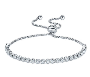 Cubic Zirconia Silver Adjustable Chain Bracelet - Bliss Ever After