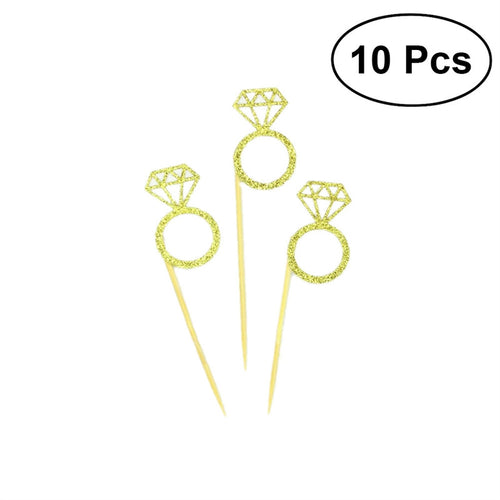 10pcs Diamond Ring Wedding Cupcake Toppers - Bliss Ever After