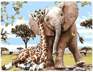 Giraffe & Elephant are kind - LOVIELO