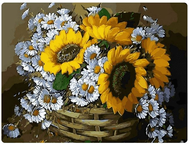 Basket with Sunflowers and Daisies - LOVIELO